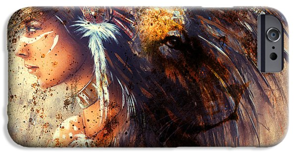 Indian Woman Wearing  Feather Headdress With Lion And Abstract Color Collage. IPhone Case by Jozef Klopacka