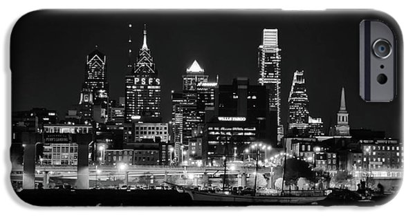 Black And White Cityscape - Philadelphia IPhone Case by Bill Cannon