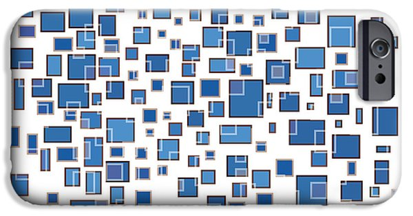 Blue Abstract Rectangles IPhone Case by Frank Tschakert