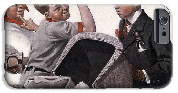 Boy With Baby Carriage IPhone Case by Norman Rockwell
