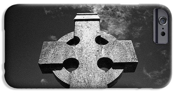 Celtic Cross In A Rural Irish Graveyard In Tydavnet County Monaghan Republic Of Ireland IPhone Case by Joe Fox