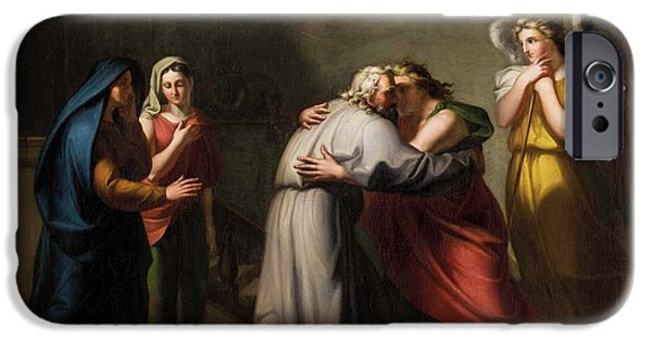 Farewell Of Tobias From His Blind Father With The Angel Raphael IPhone Case by MotionAge Designs