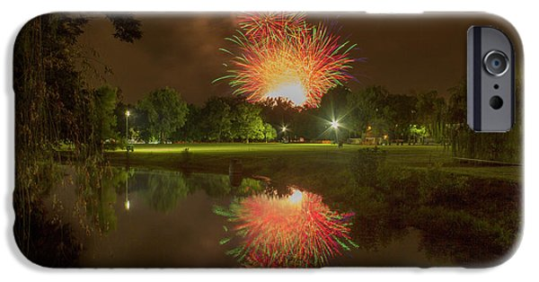 fireworks during Fair St Louis in Forest Park IPhone Case by Garry McMichael