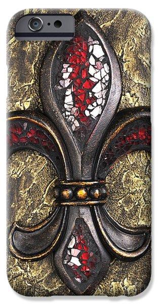 red mosaic Fleur-di-lis IPhone Case by Tony Cordoza