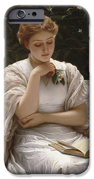 Girl Reading IPhone Case by Charles Edward Perugini
