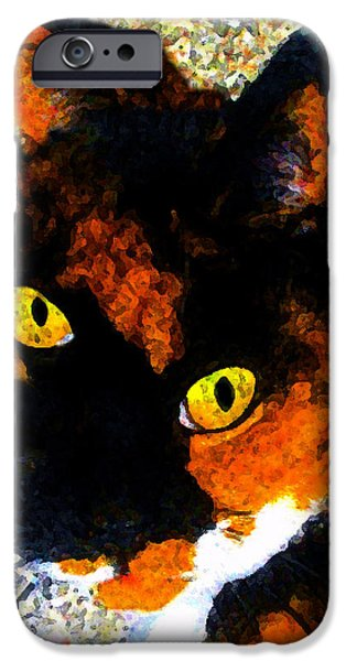 Looking Cat IPhone Case by David Lee Thompson