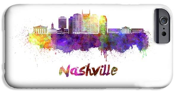 Nashville Skyline In Watercolor IPhone Case by Pablo Romero