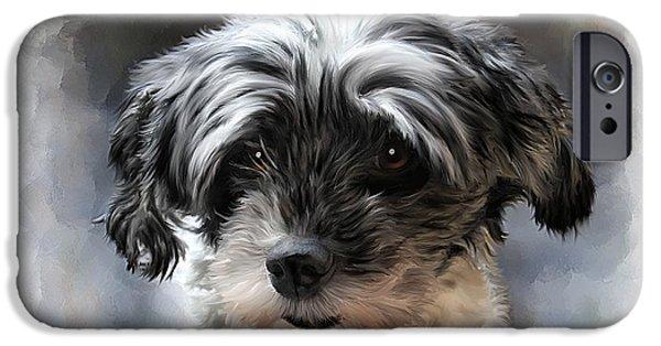 Pet Dog Portrait IPhone Case by Michael Greenaway
