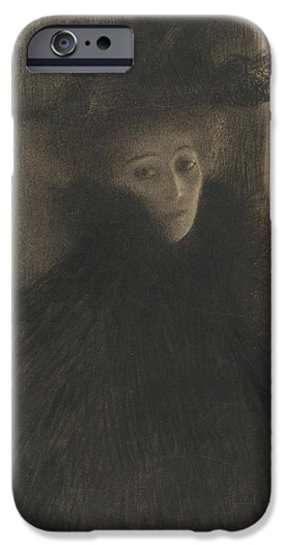 Portrait Of A Lady With Cape And Hat  IPhone Case by Gustav Klimt