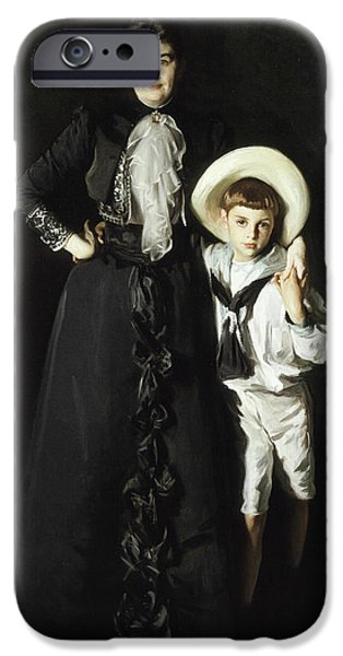 Portrait Of Mrs Edward L Davis And Her Son Livingston Davis IPhone Case by John Singer Sargent