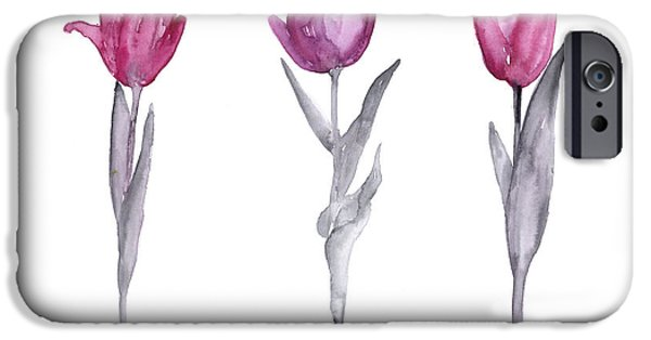 Purple Tulips Watercolor Painting IPhone Case by Joanna Szmerdt