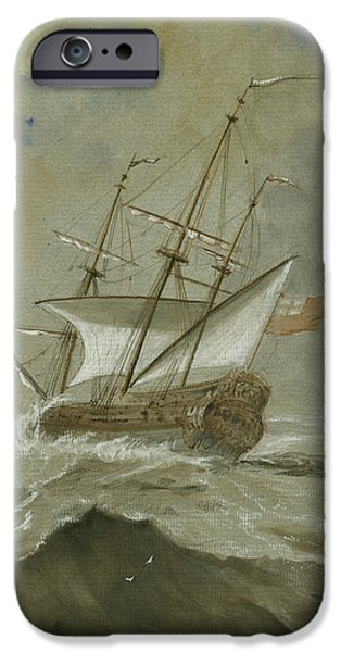 Ship At The Storm IPhone Case by Juan Bosco