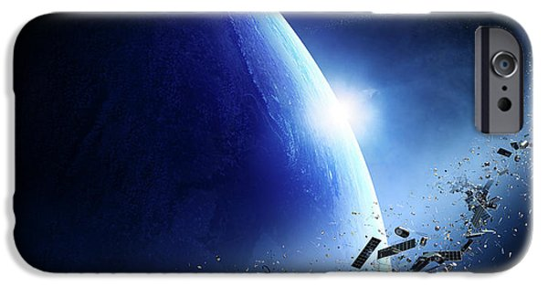 Space Junk Orbiting Earth IPhone Case by Johan Swanepoel