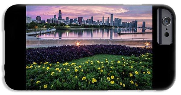 summer flowers and Chicago skyline IPhone Case by Sven Brogren