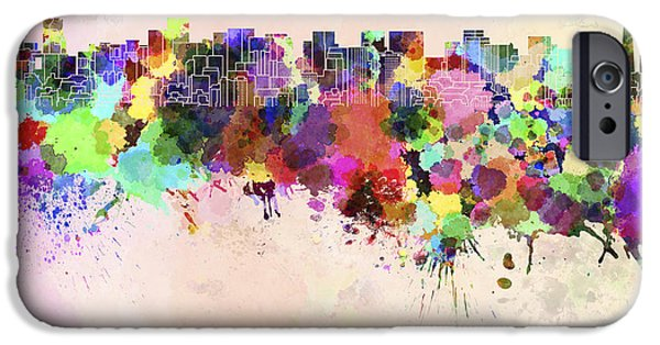 Tokyo Skyline In Watercolor Background IPhone 6s Case by Pablo Romero