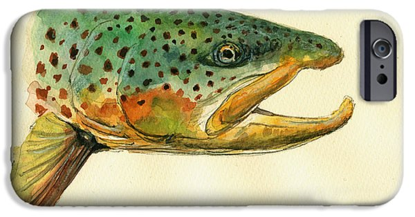 Trout Watercolor Painting IPhone 6s Case by Juan  Bosco