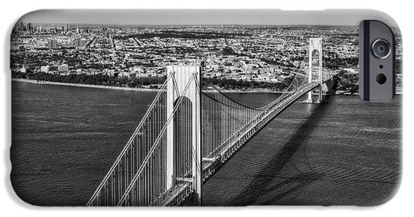 Verrazano Narrows Bridge Aerial View IPhone Case by Susan Candelario