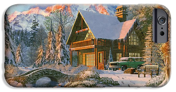 Winter Holiday Cabin IPhone Case by Dominic Davison