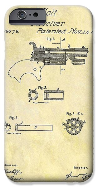 1857 Colt Revolver Design IPhone Case by Dan Sproul