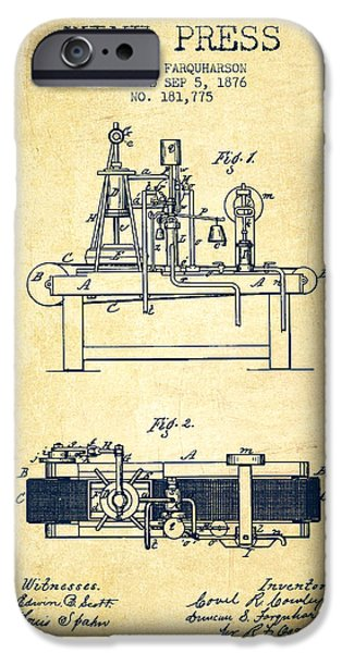 1876 Wine Press Patent - Vintage IPhone Case by Aged Pixel