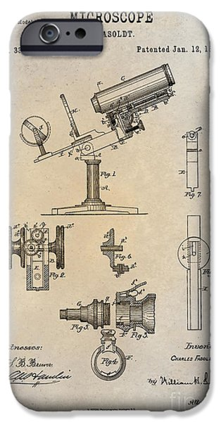 1886 Microscope Patent Art Fasoldt 1 IPhone Case by Nishanth Gopinathan