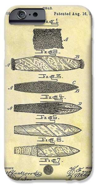 1887 Cigar Patent IPhone Case by Dan Sproul
