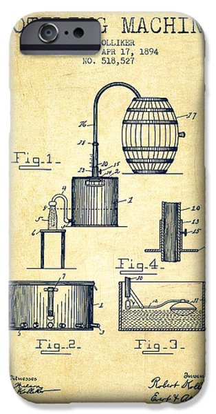 1894 Bottling Machine Patent - Vintage IPhone Case by Aged Pixel