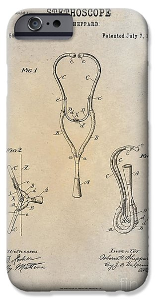 1896 Stethoscope Patent Art Sheppard 1 IPhone Case by Nishanth Gopinathan