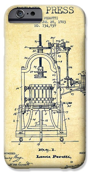 1903 Wine Press Patent - Vintage 02 IPhone Case by Aged Pixel