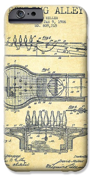 1906 Bowling Alley Patent - Vintage IPhone Case by Aged Pixel