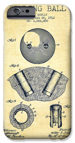 1912 Bowling Ball Patent - Vintage IPhone Case by Aged Pixel