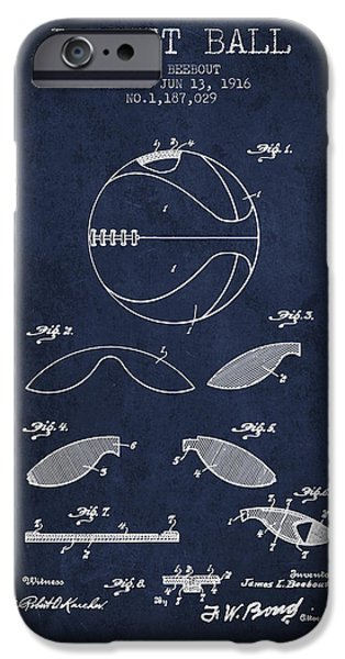 1916 Basket Ball Patent - Navy Blue IPhone Case by Aged Pixel