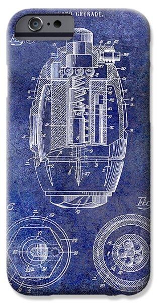 1919 Hand Grenade Patent Blue IPhone Case by Jon Neidert