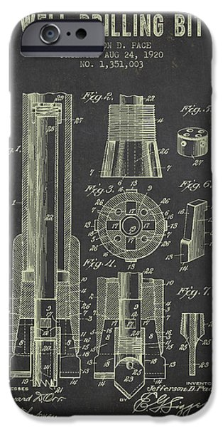 1920 Well Drilling Bit Patent - Dark Grunge IPhone Case by Aged Pixel
