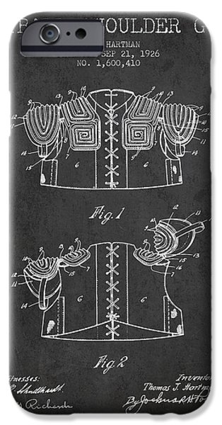 1926 Football Shoulder Guard Patent - Charcoal IPhone Case by Aged Pixel