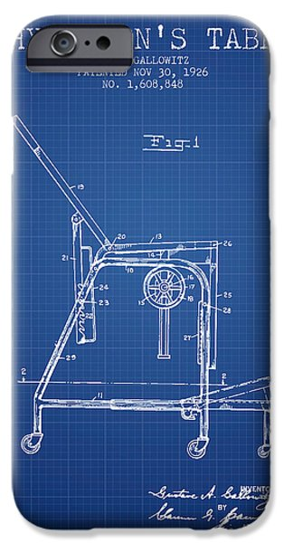 1926 Physicians Table Patent - Blueprint IPhone Case by Aged Pixel
