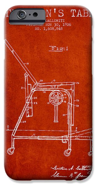1926 Physicians Table Patent - Red IPhone Case by Aged Pixel