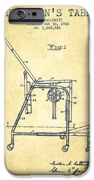 1926 Physicians Table Patent - Vintage IPhone Case by Aged Pixel