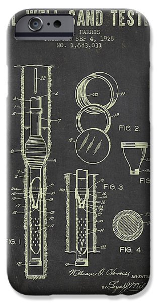 1928 Oil Well Tester Patent - Dark Grunge IPhone Case by Aged Pixel