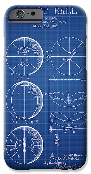1929 Basket Ball Patent - Blueprint IPhone Case by Aged Pixel