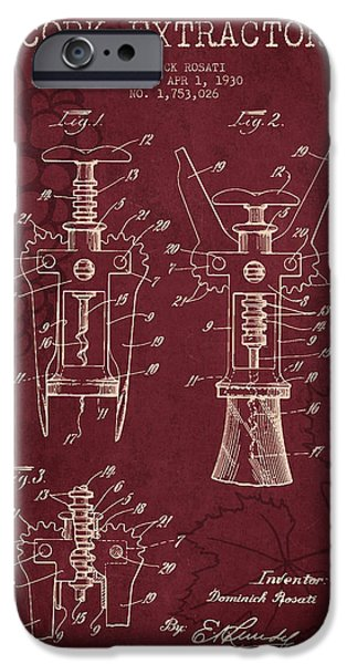 1930 Cork Extractor Patent - Red Wine IPhone Case by Aged Pixel