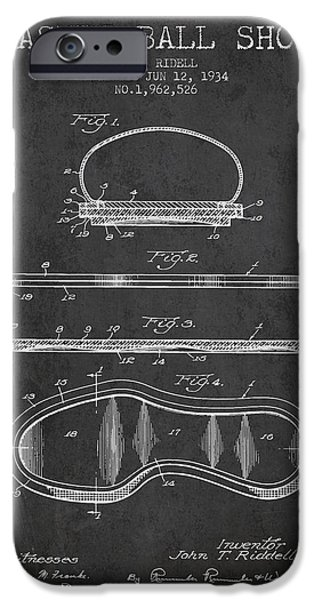 1934 Basket Ball Shoe Patent - Charcoal IPhone Case by Aged Pixel