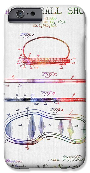 1934 Basket Ball Shoe Patent - Color IPhone Case by Aged Pixel