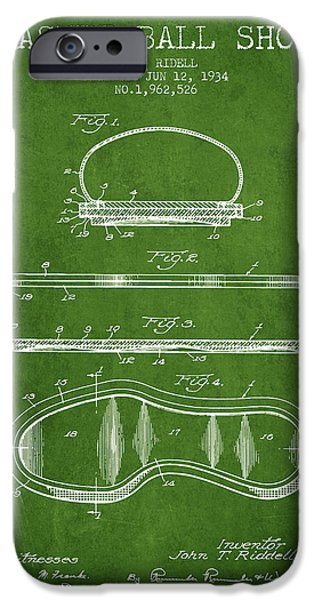 1934 Basket Ball Shoe Patent - Green IPhone Case by Aged Pixel