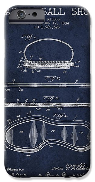 1934 Basket Ball Shoe Patent - Navy Blue IPhone Case by Aged Pixel