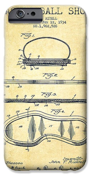 1934 Basket Ball Shoe Patent - Vintage IPhone Case by Aged Pixel