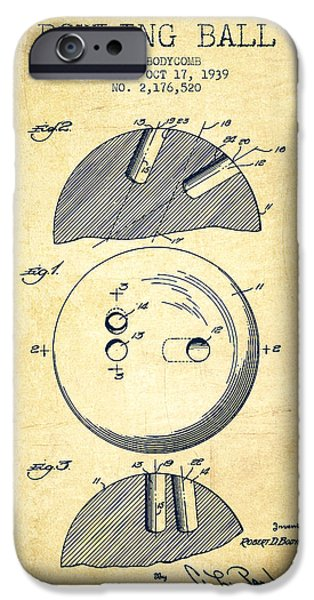 1939 Bowling Ball Patent - Vintage IPhone Case by Aged Pixel