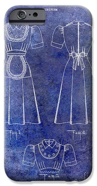 1940 Waitress Uniform Patent Blue IPhone Case by Jon Neidert