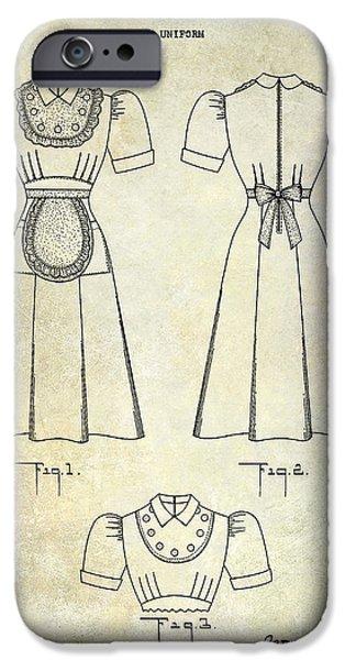 1940 Waitress Uniform Patent IPhone Case by Jon Neidert