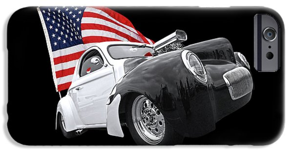 1941 Willys Coupe With Us Flag IPhone Case by Gill Billington